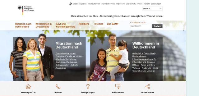 Freundlich lächelnde Personen aus verschiedenen Ländernauf der Homepage des BAMF.