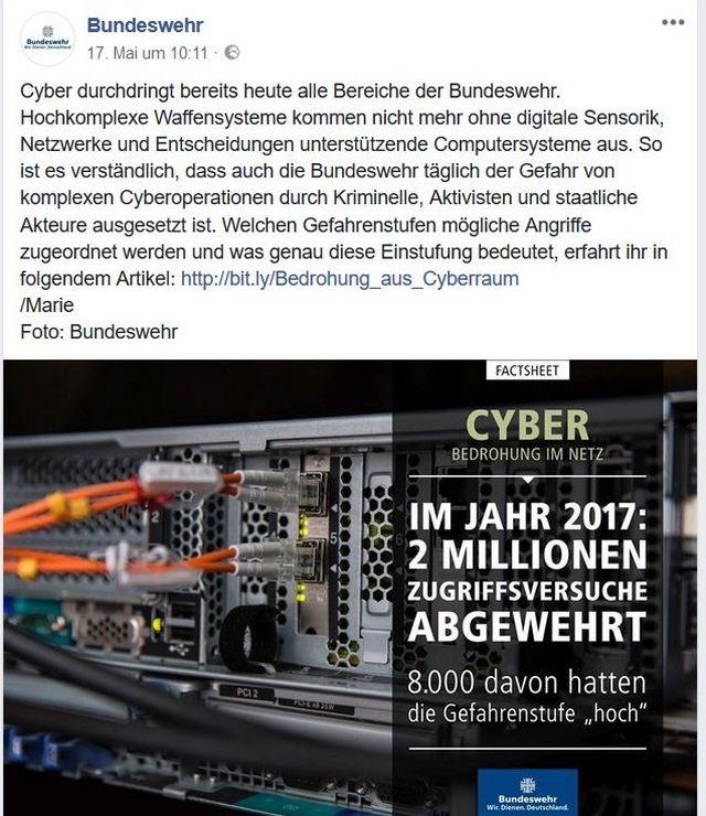Facebook-Post mit Hinweis auf abgewehrte Cyber-Angriffe.