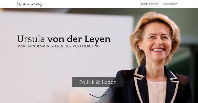 Ursula von der Leyen auf der Homepage mit ihrem Namen.