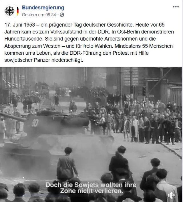 """Post der Bundesregierung in """"Facebook"""" mit DEmonstranten und einem sowjetischen Panzer."""