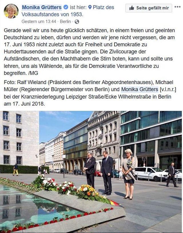 Kranzniederlegung in Berlin mit Monika Grütters u.a, ohne weitere Teilnehmer.