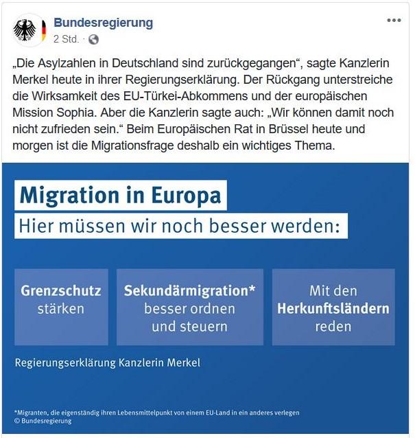 """Erklärung der Bundesregierung in Facebook-Post mit dem Titel """"Migration in Europa. Hier müssen wir es besser machen""""."""