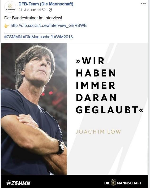 """Joachim Löw im Bild mit dem Zitat """"Wir haben immer daran geglaubt."""""""