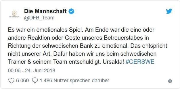 Halbherzige Entschuldigung des DFB für Beleidigungen der Schweden durch DFB-Funktionäre.