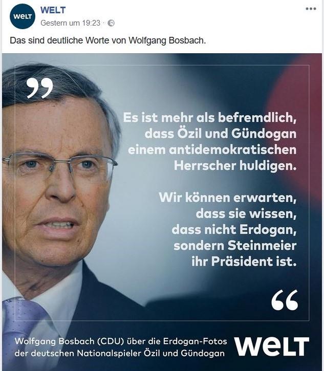 Im Bild eines Facebook-Posts Wolfgang Bosbach mit seiner Kritik an Özil und Gündogan.