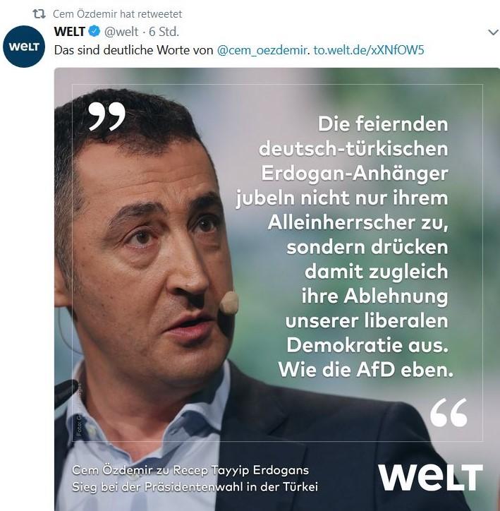 """Cem Özdemir in """"Twitter"""" mit seiner Kritik an Türken in Deutschland, die Erdogan zujubeln."""