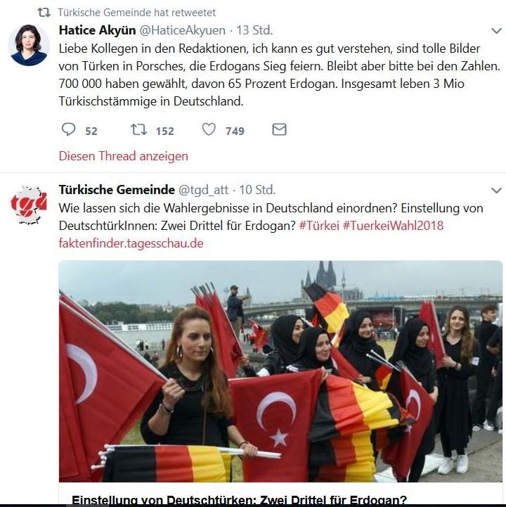 Jubelnde Türken in Deutschland und Relativierungsversuche.