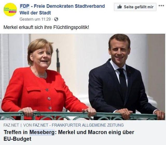 """Merkel im roten Blazer und Macron im Anzug in einem Post der FAZ mit der Anmerkung eines FDP-Ortsverbands """"Merkel erkauft sich ihre Flüchtlingspolitik""""."""