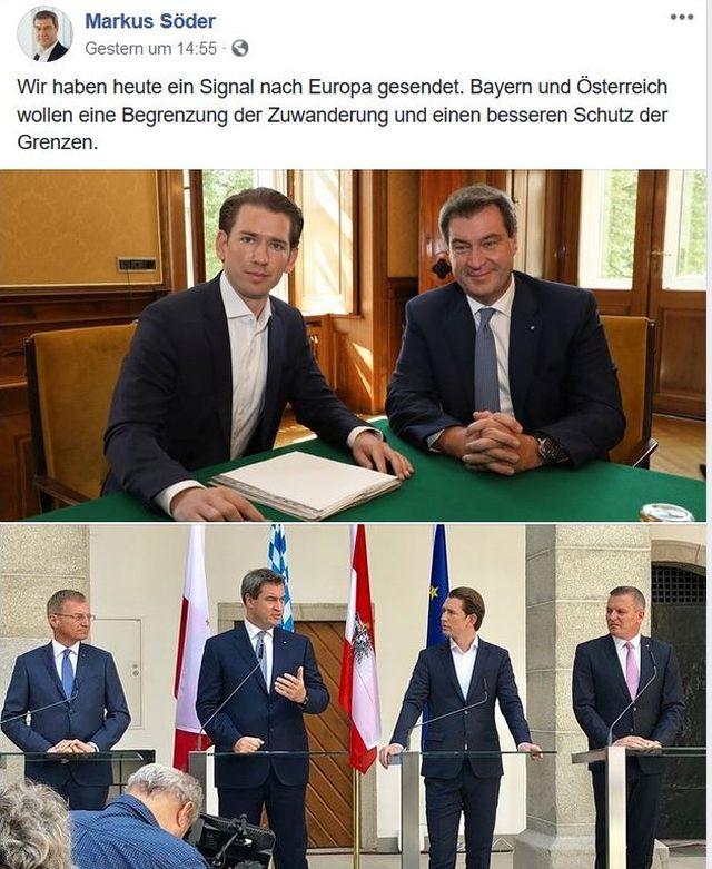 Im Bild Sebastian Kurz und Markus Söder bei ihrem Treffen in München.