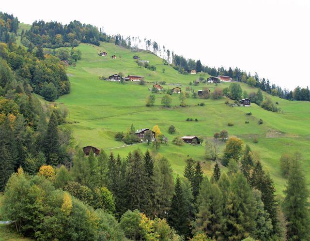 Einzelne Gehöfte mit Wohnhaus und Scheune sind über einen Berghang in Liechtenstein verteilt.