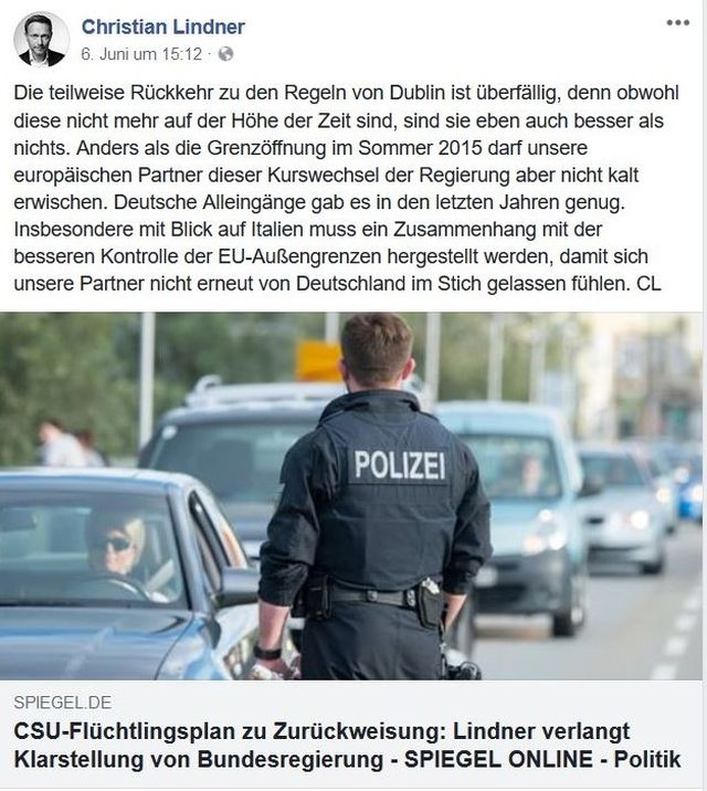 Polizeibeamter bei Kontrollen im Straßenverkehr. Christian Lindner fordert die Rückkehr zum Dublin-Abkommen.