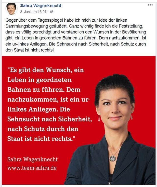 Sahra Wagenknecht vor einem roten Hintergrund mit der Feststellung, dass der Wunsch des Bürgers nach Schutz nicht rechts sei.