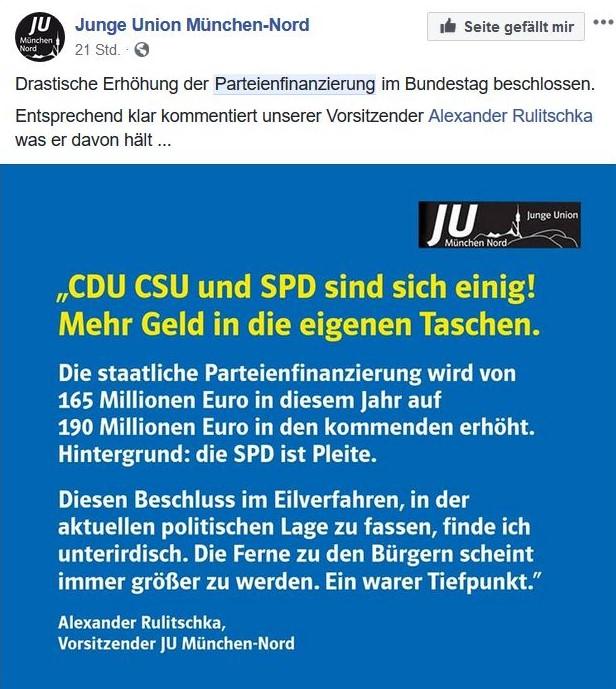Facebook-Post der Jungen Union in München: Der Ortsverband wendet sich gegen die Erhöhung der Finanzmittel für Parteien.
