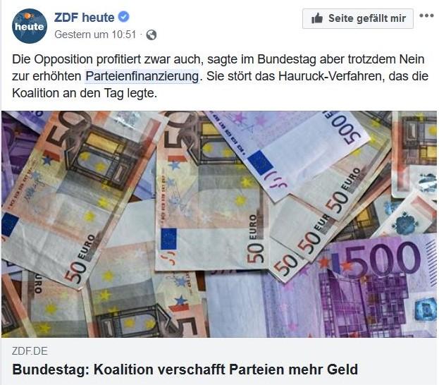 """ZDF heute in Facebook mit dem Titel """"Bundestag: Koalition verschafft Parteien mehr Geld"""" - darüber ein Bild mit Geldscheinen."""