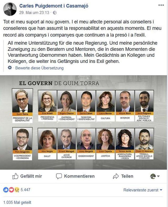 Fotos der neuen katalanischen Regionalregierung.