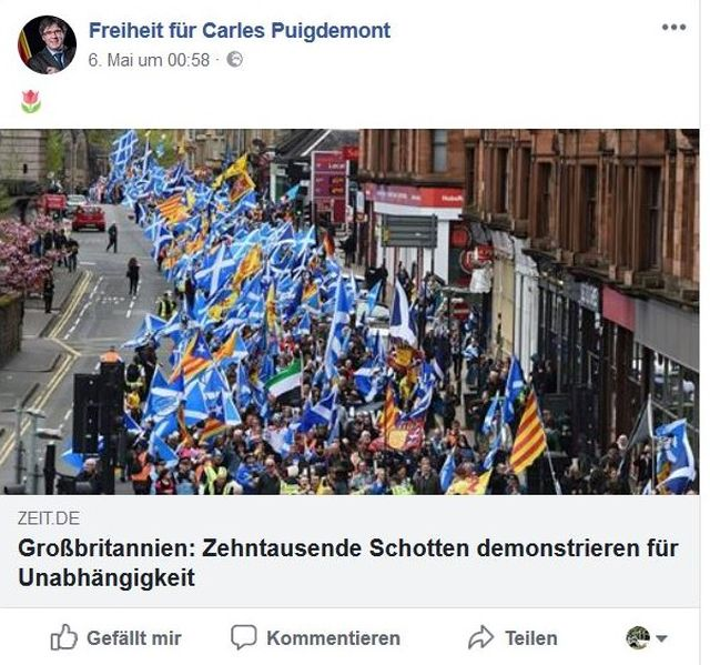 Demonstranten mit schottischen Fahnen fordern die Unabhängigkeit ihrer Region von Großbritannien.