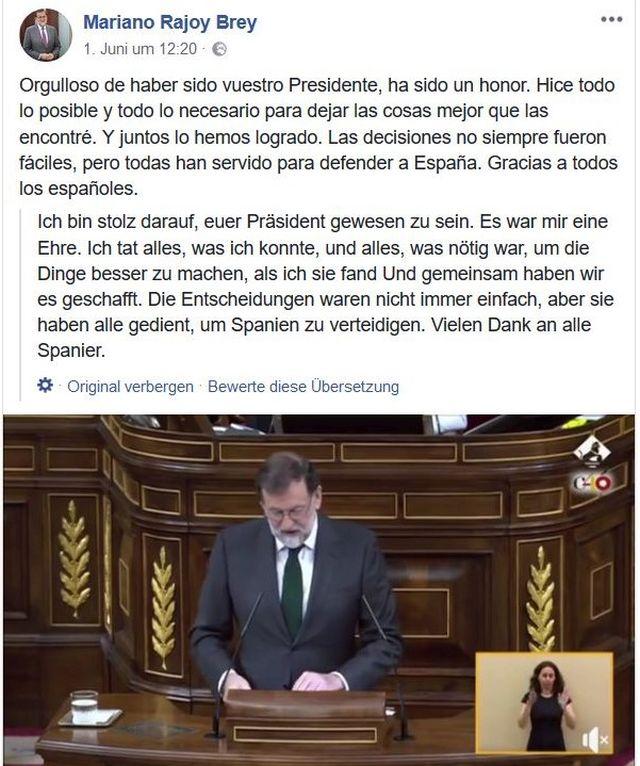 Rajoy im Anzug am Rednerpult im spanischen Parlament.