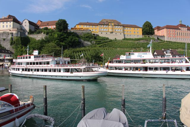 Zwei weiße Fahrgastschiffe vor dem höher gelegenen Staatsweingut Meersburg