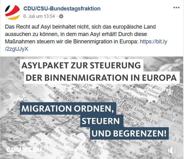 """Die CDU/CSU-Bundestagsfraktion verkündet ein """"Asylpaket zur Steuerung der Binnenmigration in Europa"""", doch das Paket ist eine Mogelpackung."""