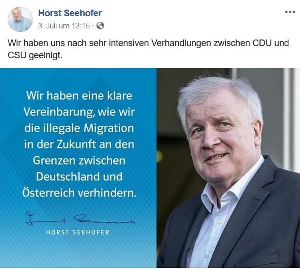 Horst Seehofer im Bild lobt die Einigung.