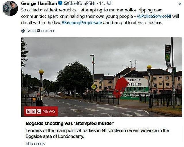 Tweet der nordirischen Polizei, in dem über neue Unruhen berichtet wurde.