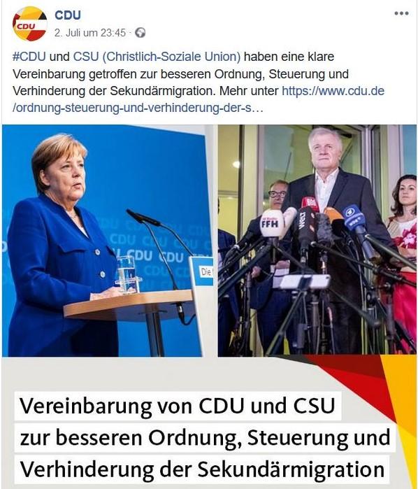 Angela Merkel in einem CDU-Facebook-Post zeigt sich optimistisch und sieht eine klare Vereinbarung von CDU und CSU.