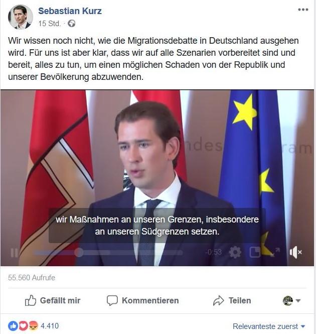 Im Bild der österreichische Bundeskanzler Sebastian Kurz, der von der Bundesregierung klare Aussagen zur Asylpolitik einfordert.