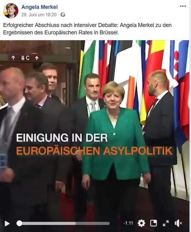 """""""Einigung in der europäischen Asylpolitik"""" verkündet die CDU mit einem Foto von Angela Merkel."""