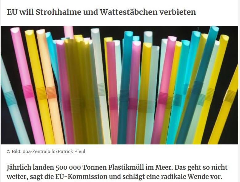"""Bunte Strohhalme als Fpoto in einem Bericht der Tageszeitung Kurier mit dem Titel """"EU will Strohhalme und Wattestäbchen verbieten""""."""