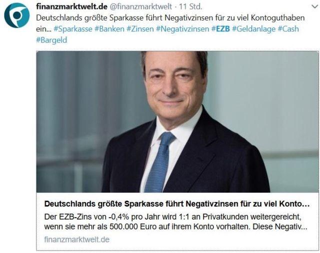 Im Bild Mario Draghi mit der Meldung, dass die Sparkasse in Hamburg Negativzinsen berechnet, wenn mehr als 500 000 EURO auf den Konten sind.