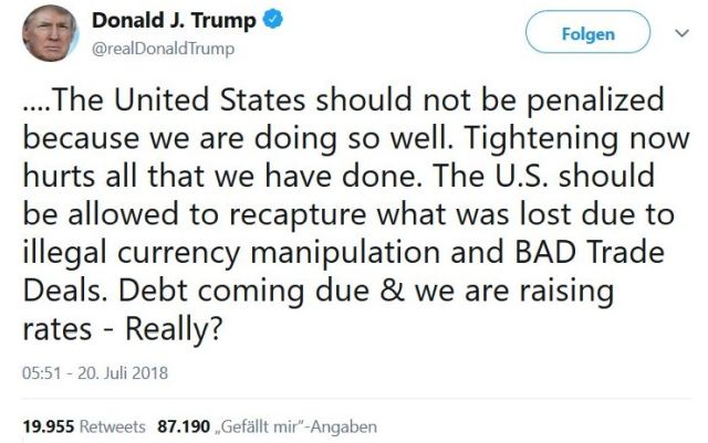 """Tweet von Donald TRump mit dem Vorwurf der """"illegal currency manipuation""""."""