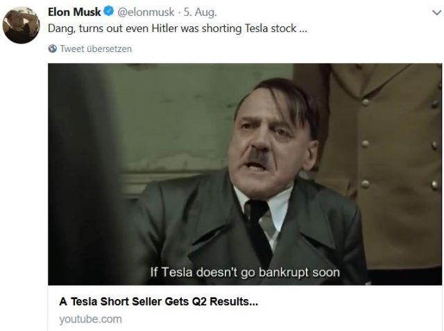 Adolf Hitler wird bei Elon Musk zum wahnsinnigen Fonds-Manager, der gegen Tesla gewettet hat.