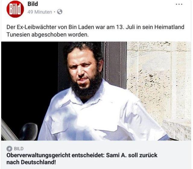 Bild-Facebook-Post mit einem Foto Sami A., der nach Tunesien abgeschoben wurde.