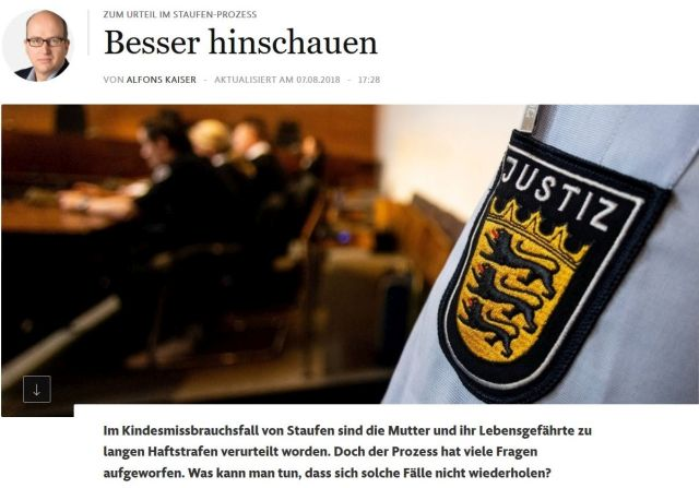 """""""Besser hinschauen"""", so der Titel des FAZ-Kommentars. Im Vordergrund der Hemdärmel eines Justit-Beamten in Baden-Württemberg."""