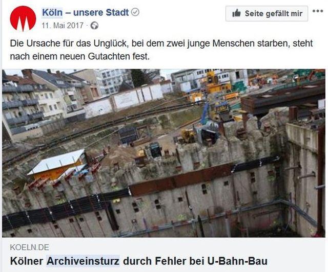 Baugrube, in die das Kölner Stadtarchiv absackte.