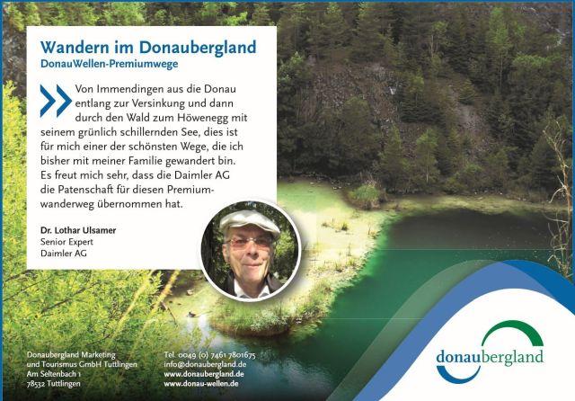 Anzeige von Donaubergland Tourismus: Im Bild der Höwenegg und ein kleines Foto des Autors dieses Blog-Beitrags.