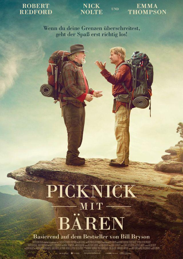 Die Schauspieler Robert Redford und Nick Nolte während ihrer Film-Wanderung auf einer Felsnase.