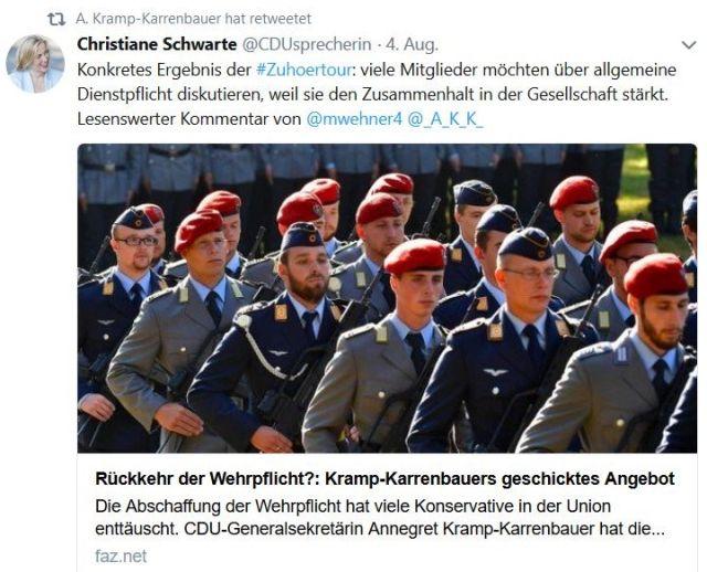 Kramp-Karrenbauer will über die Wiedereinführung der Wehrpflicht diskutieren, da ihr dies die Teilnehmer an einer Deutschland-Tour mit auf den Weg fgegeben hätten.