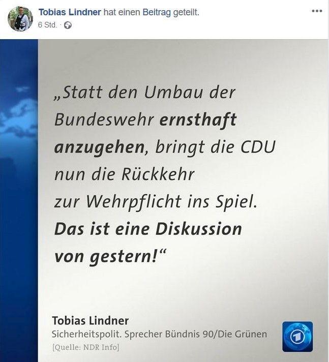 """Facebook-Post von Tagesschau.de miot dem Text """"Statt den Umbau der Bundeswehr ernsthaft anzugehen, bringt die CDU nun die Rückkehr zur Wehrpflicht ins Spiel. Das ist eine Diskussion von gestern."""""""