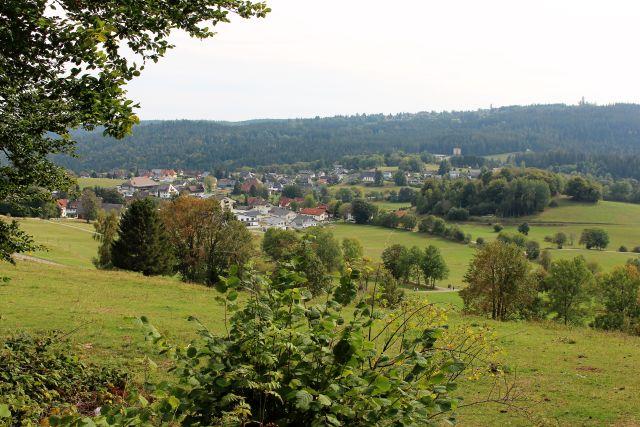 Die Gemeinde Häusern umgeben von Wald und Weiden.