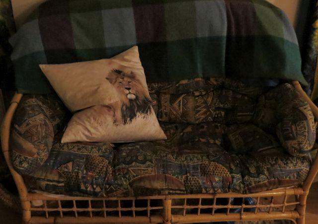 Eine Couch mit buntem Bezug, auf der ein Kissen mit einer Löwenfigur sitzt.