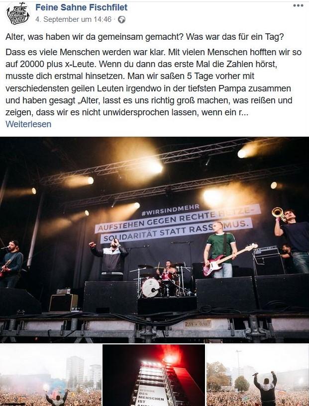 """Facebook-Post von Feine Sahne Fischfilet: Sie stehen auf der Bühne unter dem Banner """"Aufstehen gegen rechte Hetze""""."""
