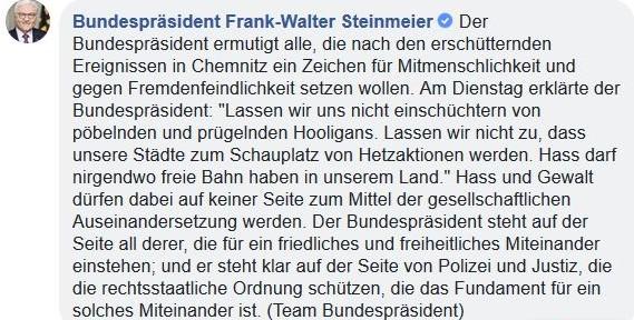 Facebook-Post des Teams des Bundespräsidenten auf die Unterstützung FrankWalter Steinmeiers fürdie Polizei hinweist.