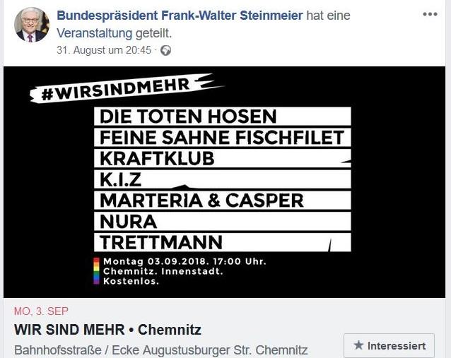 Facebook-Post des Bundespräsidenten, in dem er für ein Konzert wirbt, in dem Bands auftreten wie K.I.Z. und Feine Sahne Fischfilet, die menschenverachtende Texte rappen.