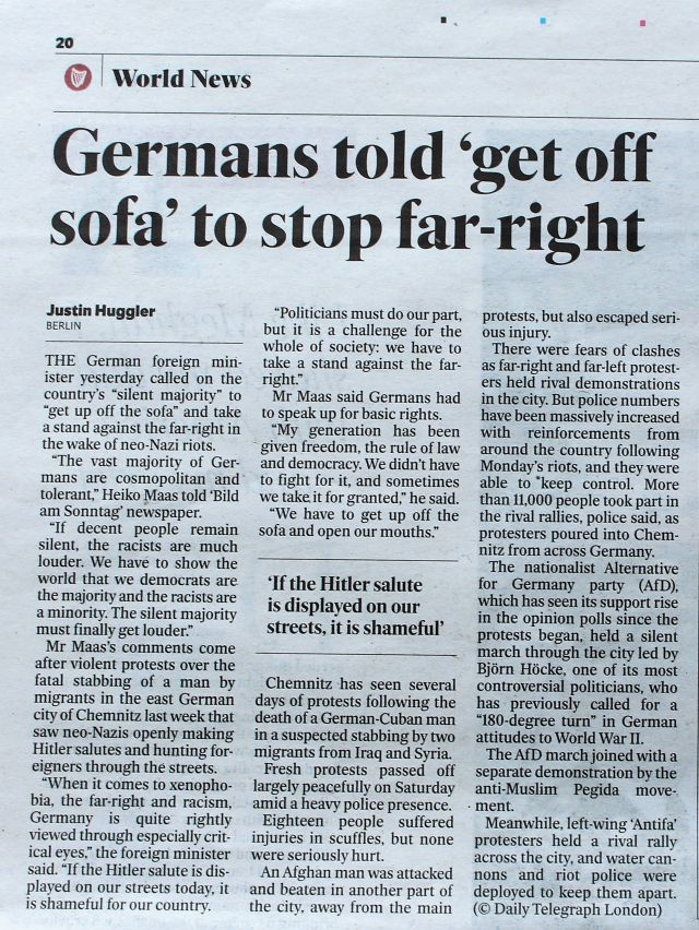 Beitrag im Irish Independent mit dm Titel 'Germans told 'get off sofa' tostop far-right'.