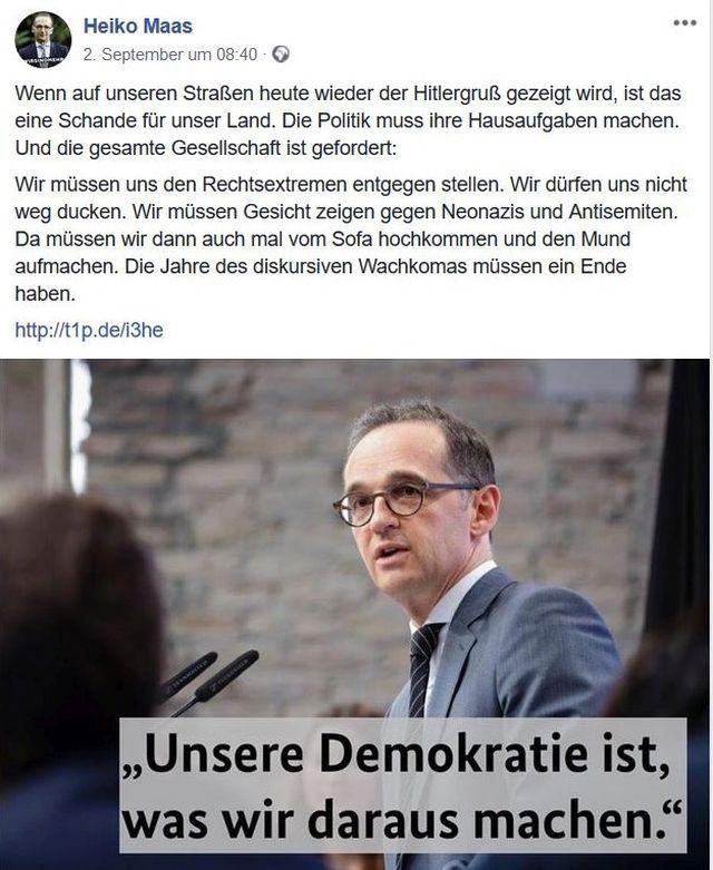 Heiko Maas in einem Facebook-Post, in dem er uns auffordert, aus dem Wachkoma wieder aufzuwachen.