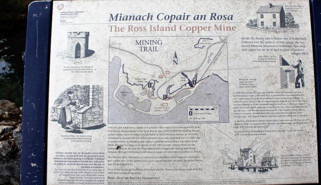 Eine Infotafel vermittelt einen Überblick über den Kupferabbau auf Ross Island.