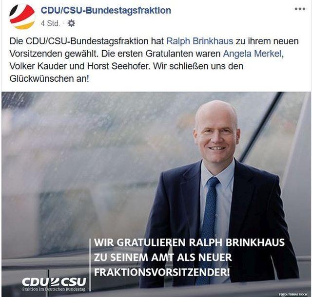 Gratulation der CDU/CSU-Bundestagsfraktion für Ralph Brinkhaus in einem Facebook-Post.