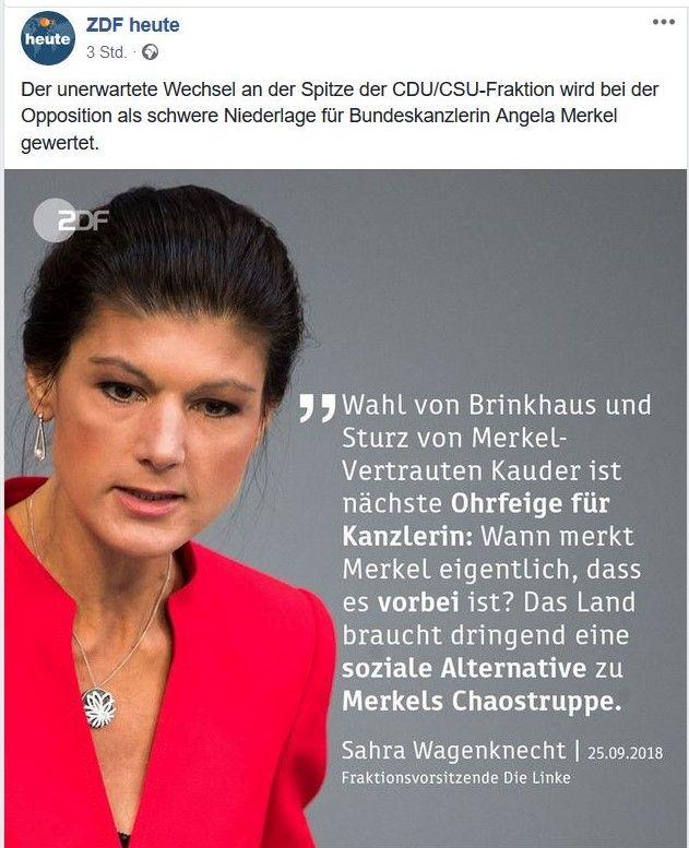 """Sahra Wagenknecht im roten Kleid mit dem Text """"Wahl von Brinkhaus und Merkel-Vertrautem Kauder ist nächste Ohrfeige für Kanzlerin: Wann merkt Merkel eigentlich, dass es vorbei ist? Das Land braucht dringend eine soziale Alternative zu Merkels Chaostruppe."""""""