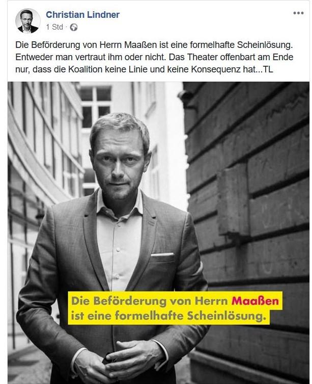Christian Lindner in einem Facebook-Post mit dem Text: Die Beförderung von Herrn Maaßen ist eine formelhafte Scheinlösung.